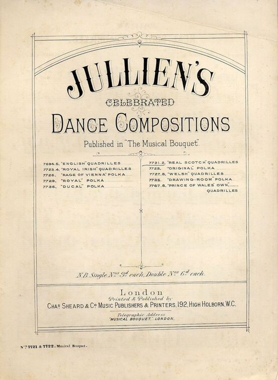 7843 | Real Scotch Quadrilles - Jullien's Celebrated Dance Compositions published in Musical Bouquet - Musical Bouquet No. 7721 and 7722