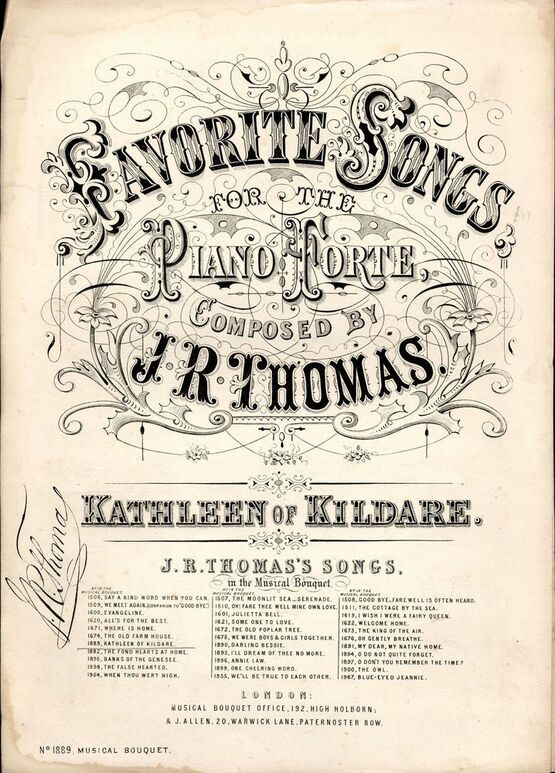 7845 | Kathleen of Kildare - Favorite Songs for the Piano Musical Bouquet Series No. 1889