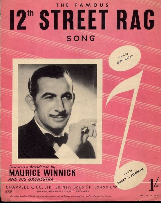 7857 | 12th Street Rag - Song - For Piano and Voice with Guitar chord symbols - Featured and Broadcast by Maurice Winnick and his Orchestra