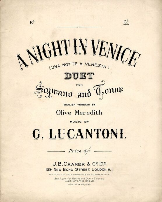 7862 | A Night In Venice (Una Notte a Venezia) - Duet in the key of D Flat major for Soprano and Tenor