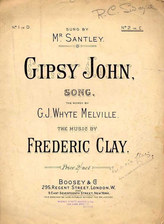 7864 | Gipsy John. Key of E major for higher voice -  Sung by Mr. Santley