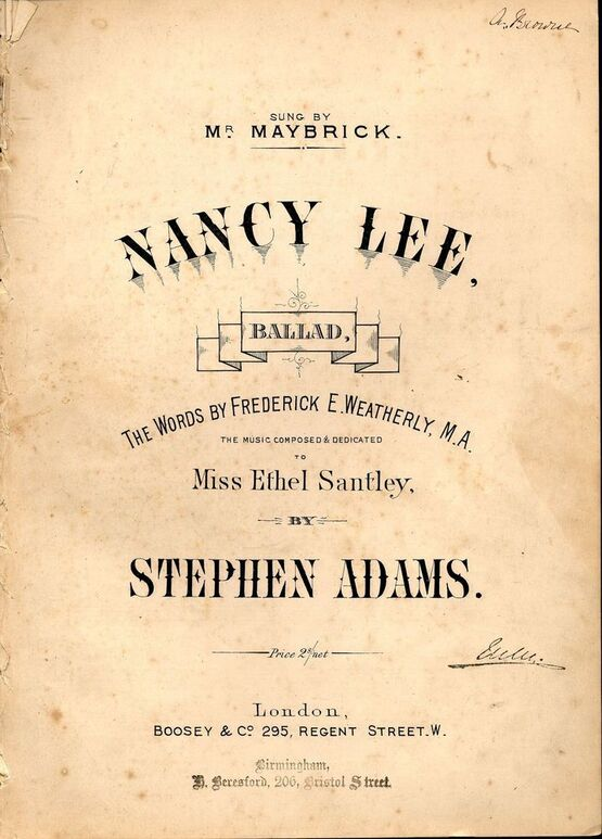 7864 | Nancy Lee - Ballad - In the key of E flat major for high voice - Sung by Mr. Maybrick