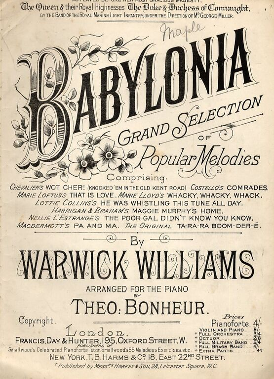 7880 | Babylonia - Grand Selection of Popular Melodies - As played by the band of the Royal Marines Light infantry under the direction of Mr George Miller