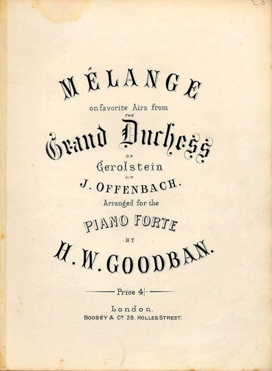 Melange On Favorite Airs From The Grand Duchess Of Gerolstein Only
