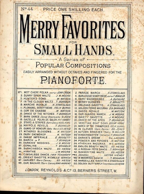 7940 | Zenoni - No. 44 from 'Merry Favorites for Small Hands' - Easily arranged without octaves for the pianoforte
