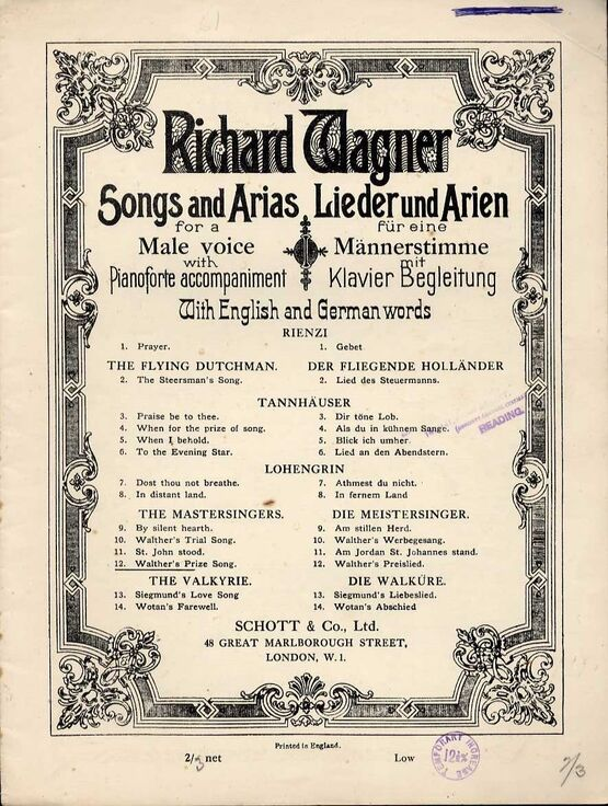 7947 | Wagner - Walther's Prize Song - From 'The Mastersingers of Nuremberg' - In A Major for a Male Voice with Pianoforte accompaniment - With English and G