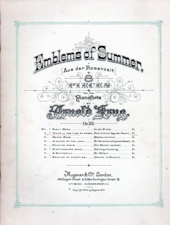 7959 | 'Tis Still the Time of Roses (Noch sind die tage der Rosen) - No. 2 from Emblems of Summer Series of 8 Pieces - Op. 116