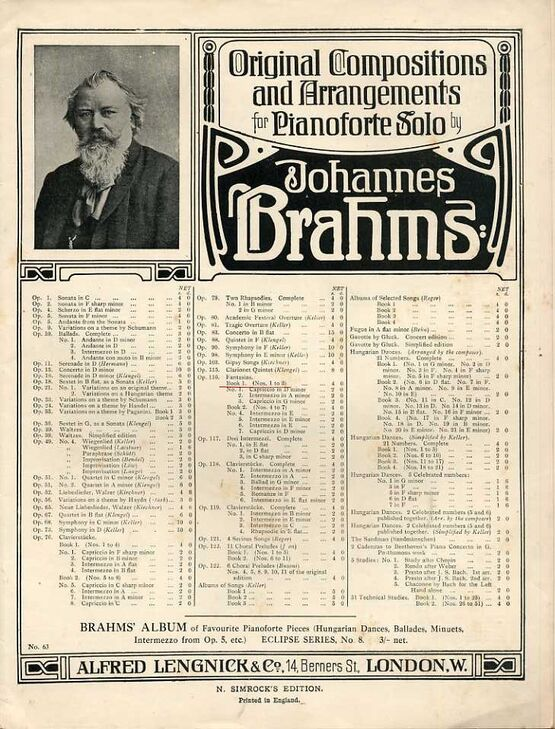 8069 | Brahms - Fantasias for Piano Solo - Op. 116, Book 1 - Featuring Brahms
