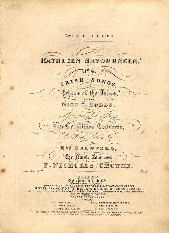 Kathleen Mavourneen - No  4 Irish Songs