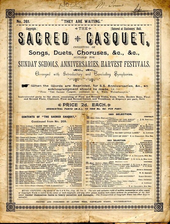 8165 | Sacred Casquet Series of Songs, Duets, Choruses, No. 261