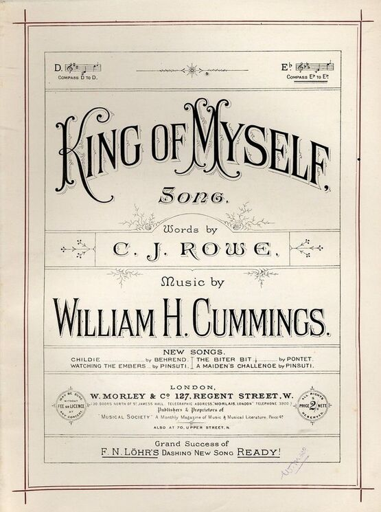 8177 | King of Myself - Song in key of E flat 0 Morley & Co edition no 1560