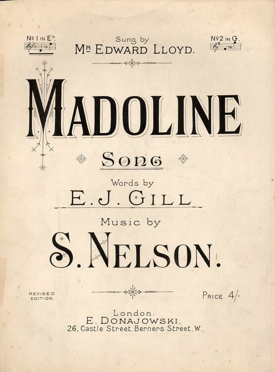 8237 | Madoline, I Dream of the Sweet Madoline -  Song in the key of E flat major for Low Voice