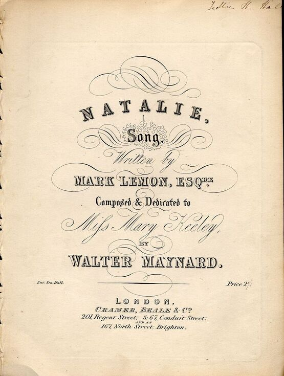 8636 | Natalie - Song - Composed and Dedicated to Mifs Mary Keeley