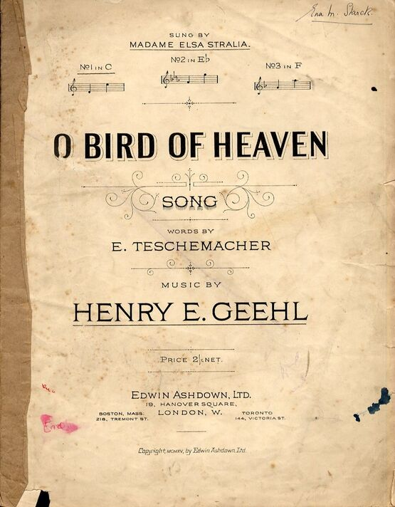 8646 | O Bird of Heaven - Song in the key of C major for lower voice