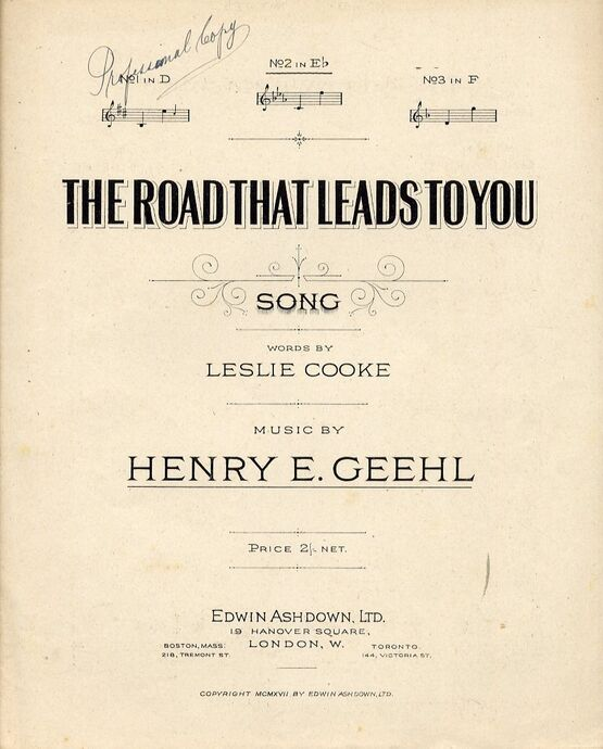 8646 | The Road That Leads To You - Song - In the key of E flat major for medium voice