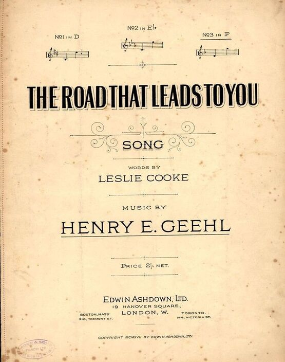 8646 | The Road That Leads To You - Song - In the key of F major for high voice