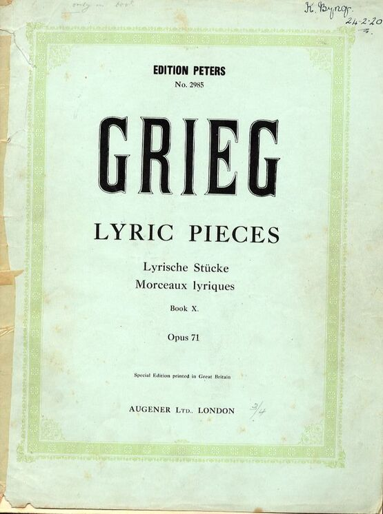 8654 | Lyric Pieces - Book 10 - Op. 71 - Edition Peters No. 2985
