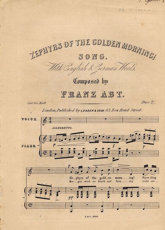 8659 | Zephyrs of the Golden Morning - Song with English and German Words