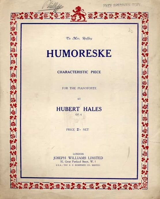 8677 | Hales - Humoreske for the Piano - Op. 6