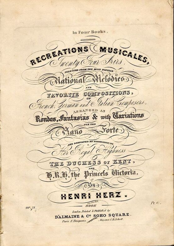 8769 | Recreations Musicales - Twenty Four Airs in Four Books - Book 2 - Selected from the most popular national melodies and favourite compositions of Frenc