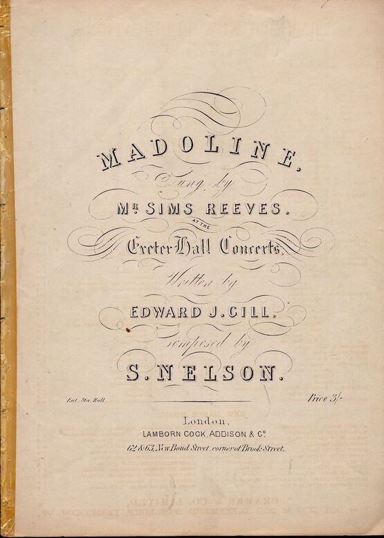 8817 | Madoline - Sung by Mr. Sims Reeves at the Exeter Hall Concerts