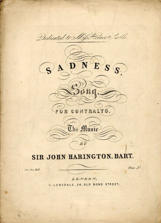 8833 | Sadness Song - for Contralto - Dedicated to Miss Horace Smith