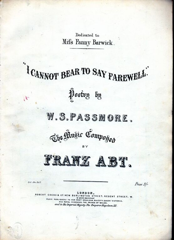 8890 | I Cannot Bear to Say Farewell - Song - Dedicated to Miss Fanny Barwick