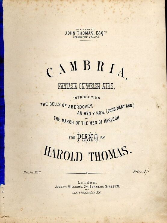 9171 | Cambria - Fantasia on Welsh Airs for The Piano - Dedicated to John Thomas Esq.