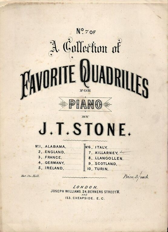9171 | Killarney - No. 7 of a Collection of Favourite Quadrilles for Piano