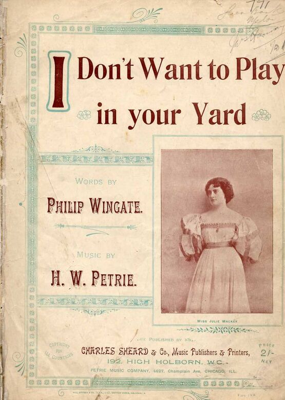 9273 | Copy of I Don't Want to Play in Your Yard - Song featuring Miss Julie Mackey - Key of F major