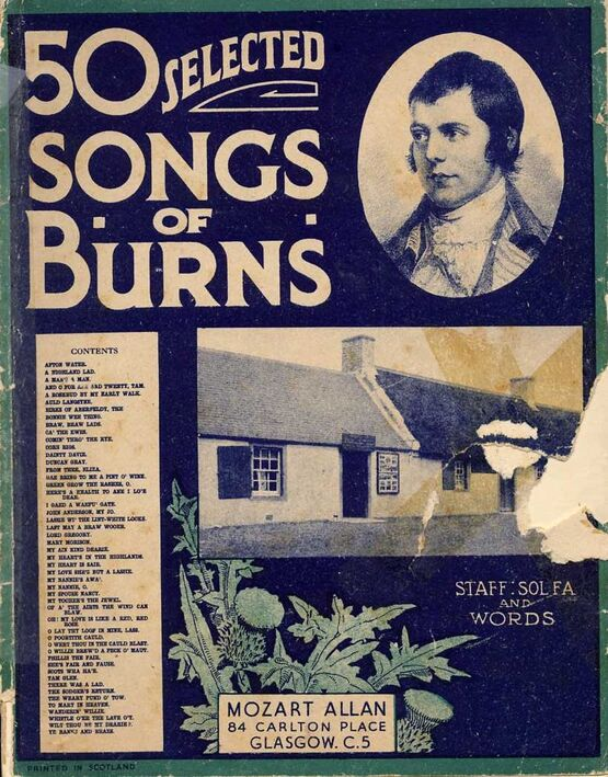 9350 | 50 selected songs of Burns - Staff, Sol Fa and words arranged with symphonies and Accompaniments for the Pianoforte