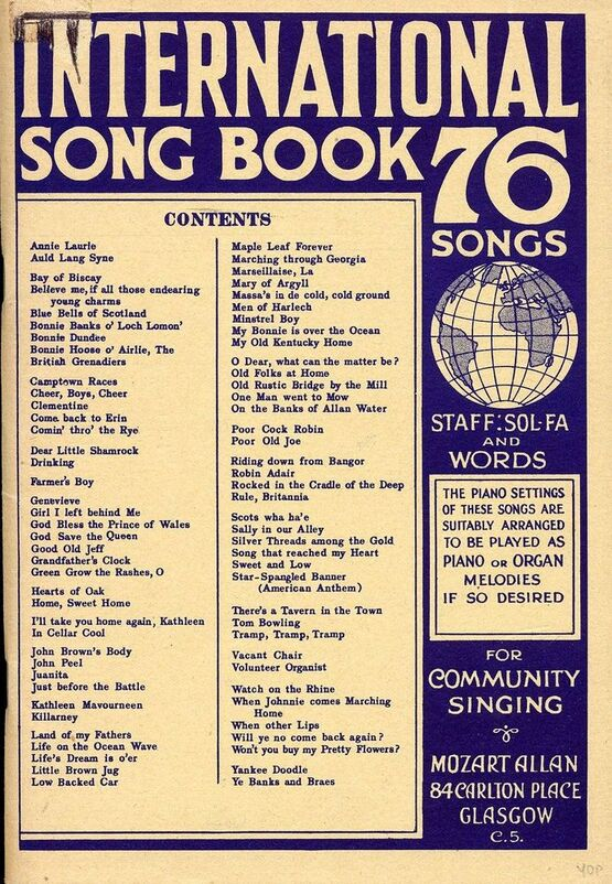International Song Book - 76 Songs - Staff Sol Fa and Words - For Community  Singing with Piano Accompaniment