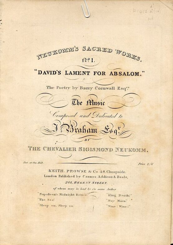 9458 | David's Lament for Absalom - No. 1 from Neukomm's Sacred Works Series - Composed and Dedicated to J. Braham Esq.