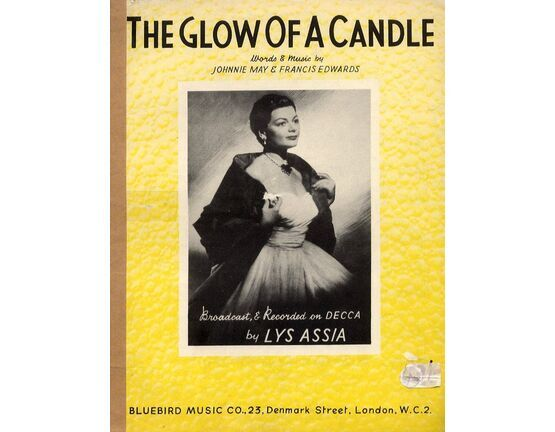 12623 | The Glow of A Candle - Song for Piano and Voice - Broadcast and Recorded on Decca by Lys Assia