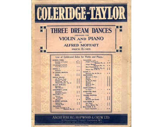 207 | Three Dream Dances - For violin and piano with seperate violin part