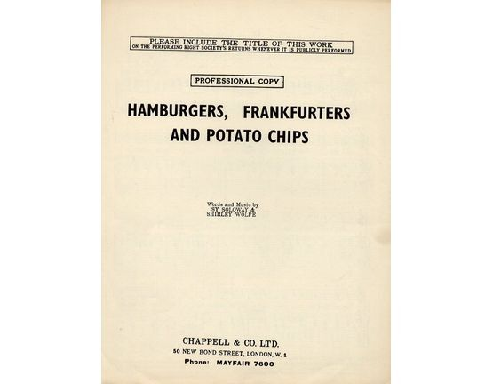 4 | Hamburgers Frankfurters and Potato Chips - Song for Piano and Voice