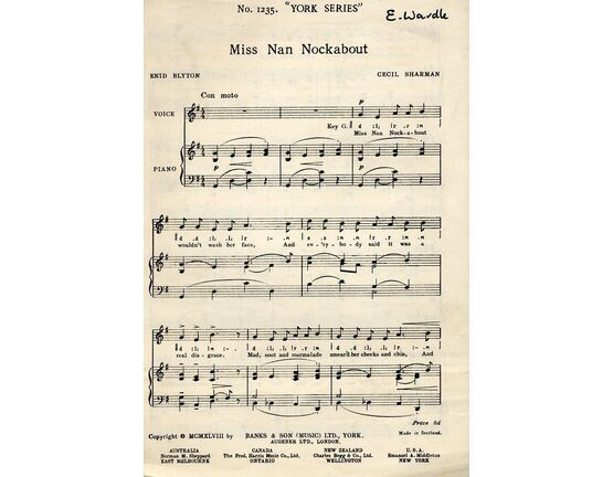 4433 | Miss Nan Nockabout - Song for Piano and Voice - York Series No. 1235