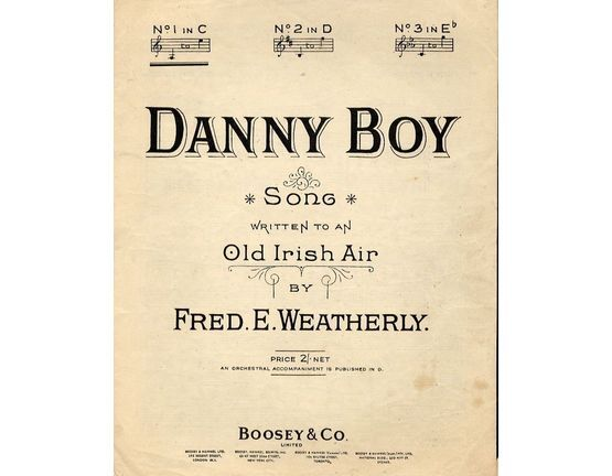 4656 | Danny Boy - Written to an old Irish Air - In the key of C major for low voice