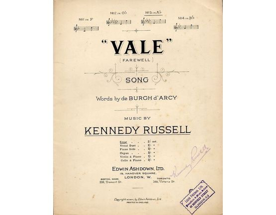 4672 | Vale (Farewell) - Song - In the key of A flat major