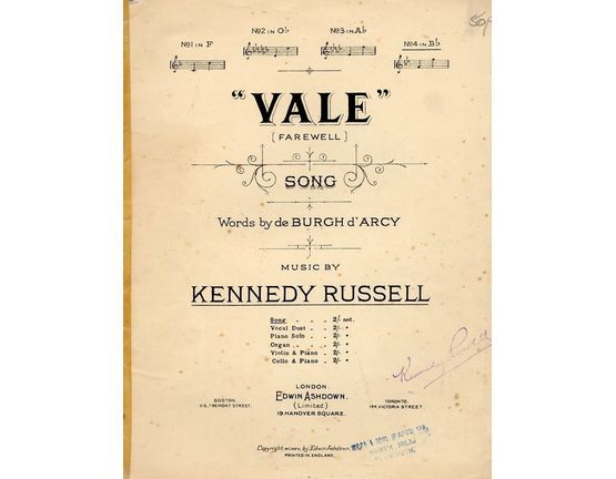 4672 | Vale (Farewell) - Song - In the key of B flat major for high voice