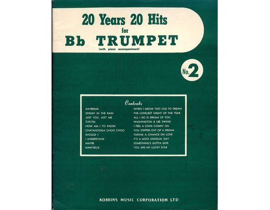 4844 | 20 years 20 hits for B flat Trumpet (with piano accompaniment) - Volume No. 2