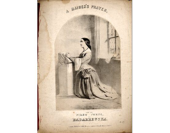 5211 | A Maidens Prayer. Piano Solo. Lithograph by A Laby, printed by Stannard & Dixon