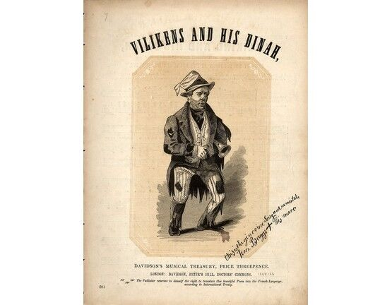 5674 | Vilikens and his Dinah - The Celebrated Comic Legend in the Wandering Minstrel - As sung by Mr. F. Robson