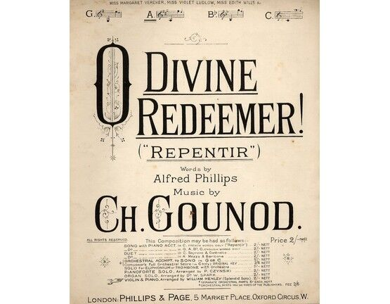 6255 | O Divine Redeemer! (Repentir) - Song In the key of A major