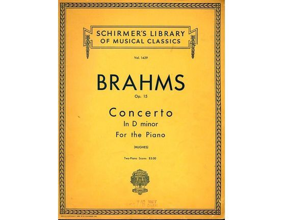 6953 | Concerto in D minor - The Orchestral accompaniments arranged for a second Piano - Op. 15 - Schirmer\'s Library of Musical Classics Vol. 1429