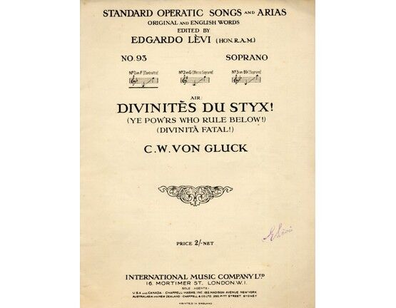 7484 | Standard Operatic Songs and Arias - Divinites Du Styx