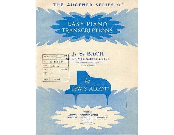 7515 | J. S. Bach - Sheep may Safely Graze - The Augener Series of Easy Piano Transcriptions