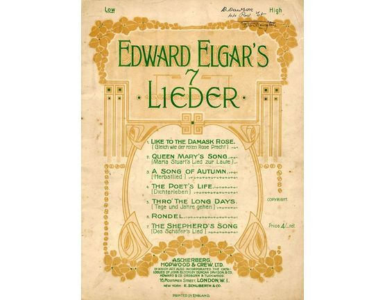 7809 | Edward Elgar\'s 7 Lieder - 7 Songs Edward Elgar - For low Voice