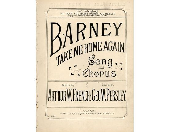 7972 | Barney take me Home again - Song and Chorus with Piano accompaniment - Hart and Co. Edition No. 716