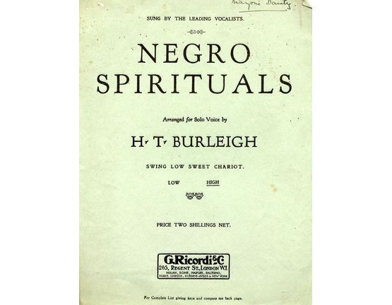 8001 | Swing Low sweet Chariot - From Negro Spirituals - For High Voice